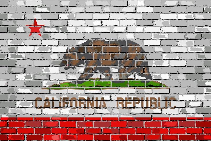 Bandeira de Califórnia em uma parede de tijolo ilustração do vetor
