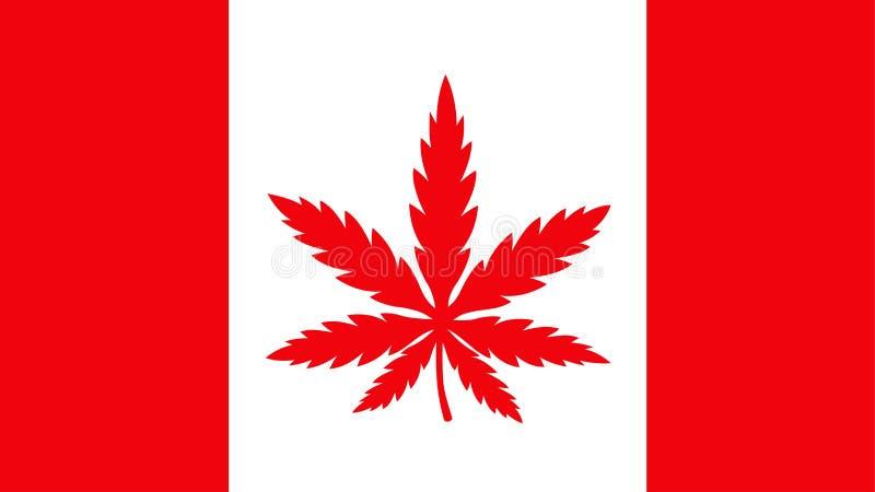 Bandeira de Canadá com a folha da erva daninha da marijuana ilustração stock