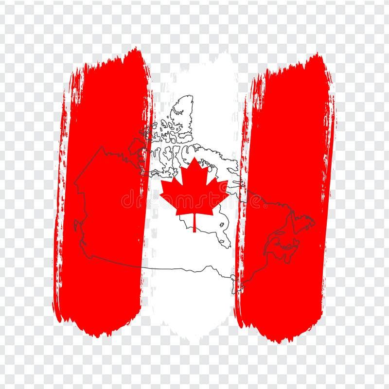 Bandeira de Canadá dos cursos da escova e do mapa vazio Canadá Mapa de alta qualidade de Canadá no fundo transparente Vetor conse ilustração do vetor