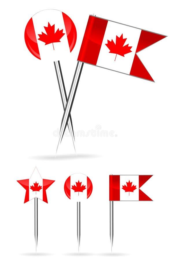 Bandeira de Canadá e pino redondo ilustração do vetor