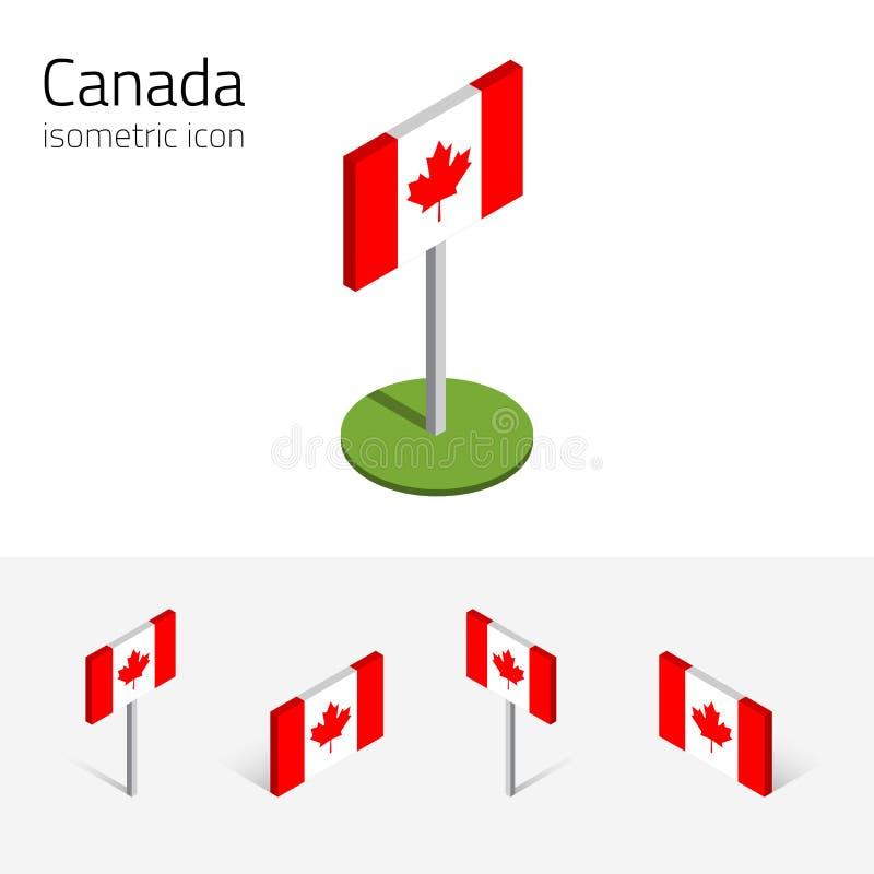 Bandeira de Canadá, grupo do vetor dos ícones 3D isométricos ilustração do vetor