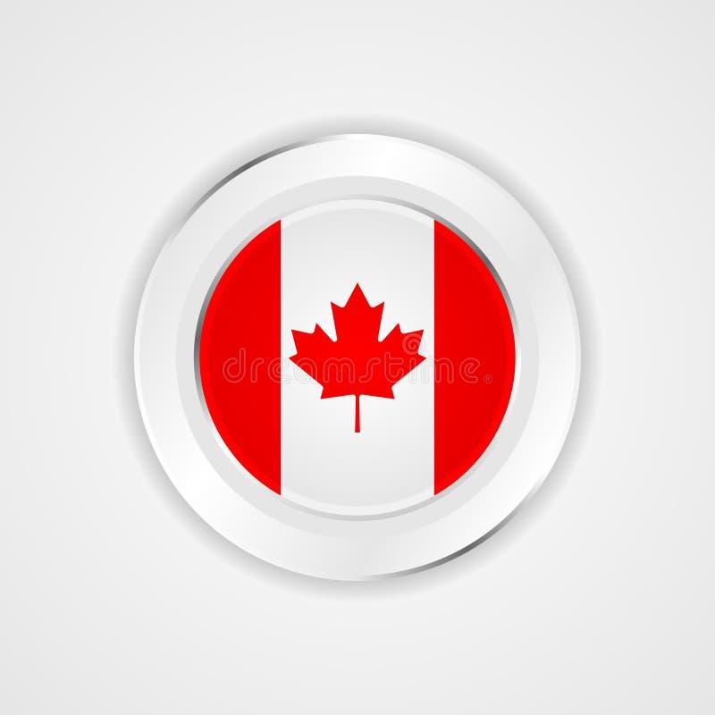 Bandeira de Canadá no ícone lustroso ilustração do vetor