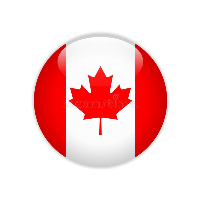 Bandeira de Canadá no botão ilustração stock