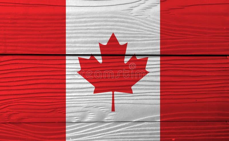 Bandeira de Canadá no fundo de madeira da parede Textura canadense da bandeira do Grunge fotografia de stock