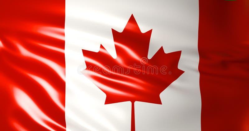 Bandeira de Canadá no vento ilustração 3D qualidade 4K ilustração royalty free