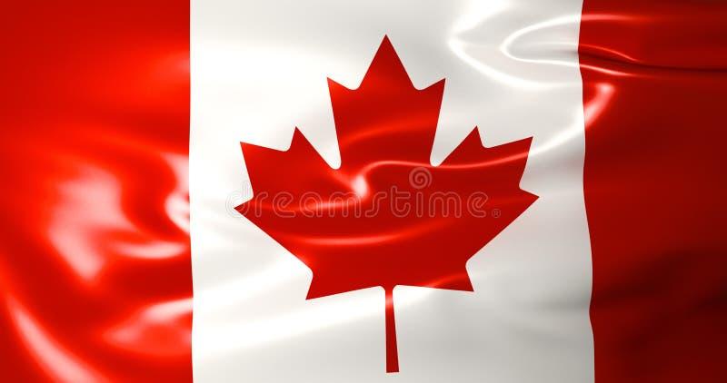 Bandeira de Canadá no vento ilustração 3D qualidade 4K ilustração do vetor