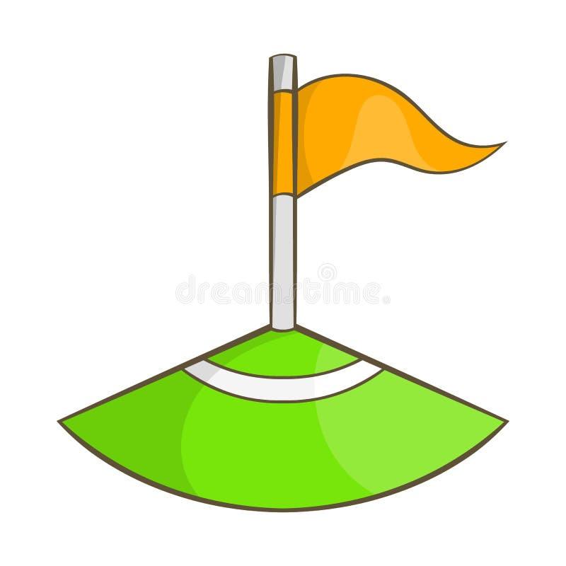 Bandeira de canto no ícone do campo de futebol, estilo dos desenhos animados ilustração stock