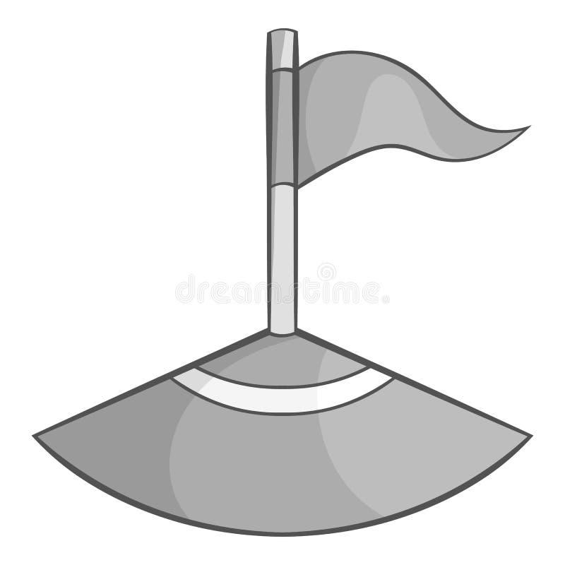Bandeira de canto no ícone do campo de futebol ilustração stock