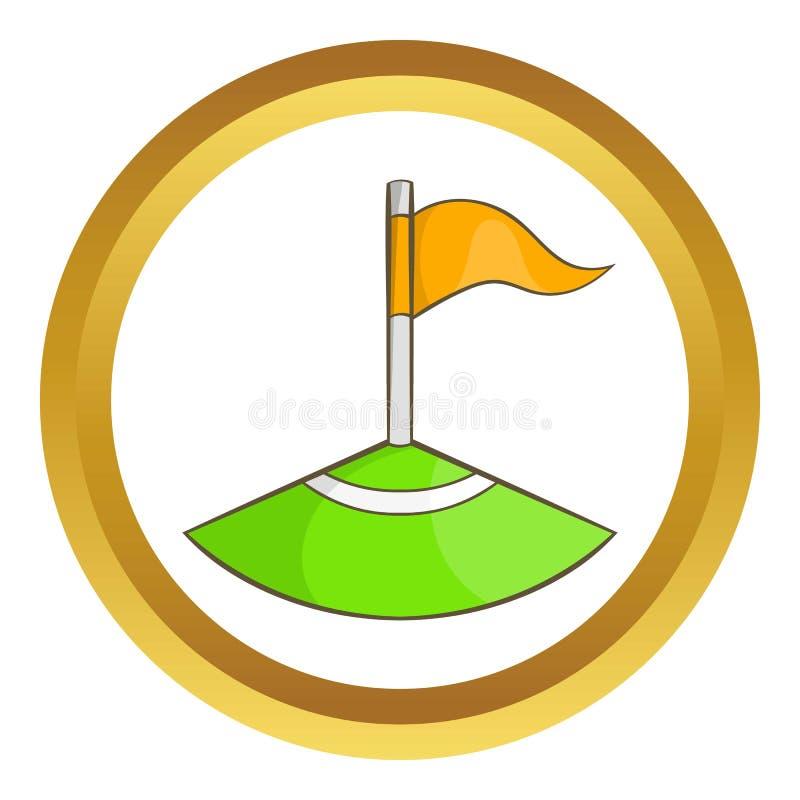 Bandeira de canto no ícone do campo de futebol ilustração royalty free