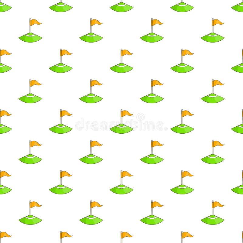 Bandeira de canto no teste padrão do campo de futebol, estilo dos desenhos animados ilustração royalty free
