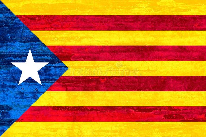 Bandeira de Catalonia da independência no fundo de madeira da textura ilustração do vetor