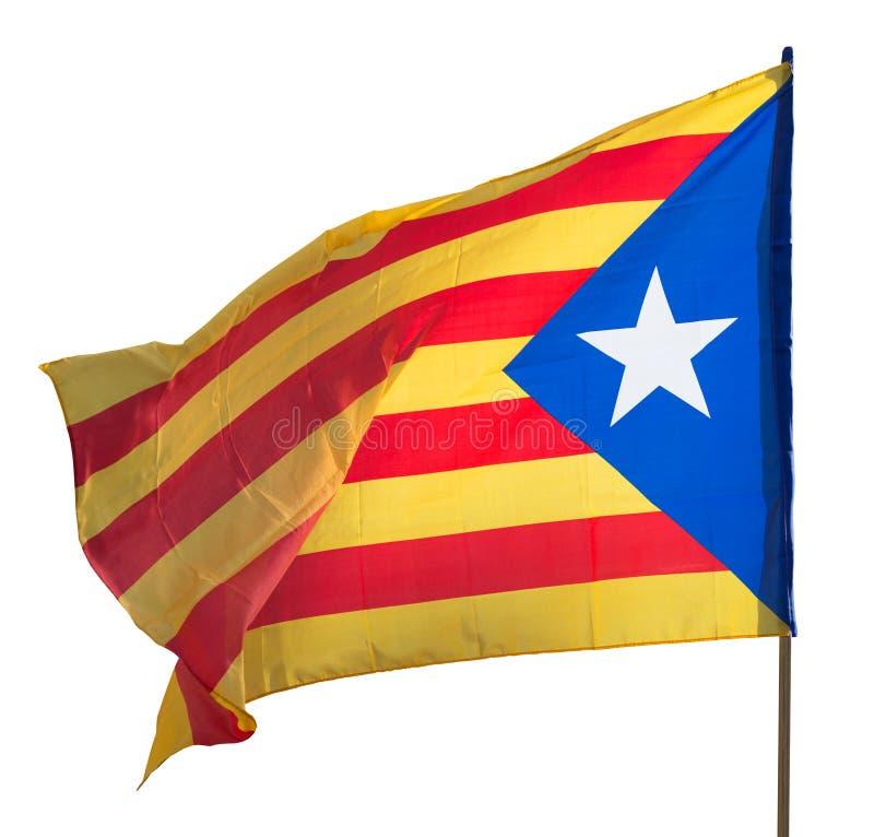 Bandeira de Catalonia do voo Isolado sobre o branco fotografia de stock
