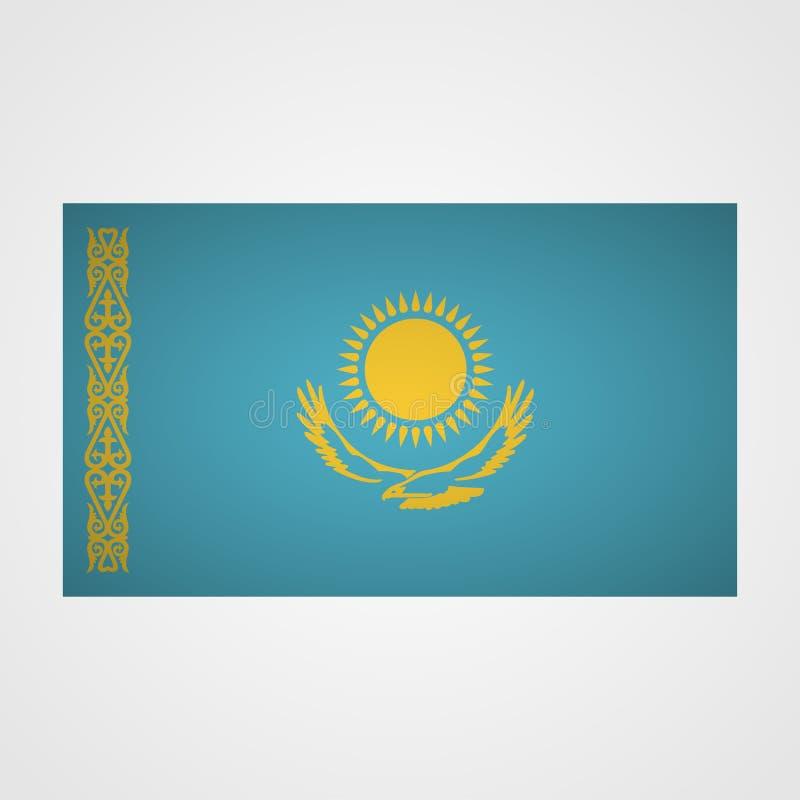 Bandeira de Cazaquistão em um fundo cinzento Ilustração do vetor ilustração do vetor