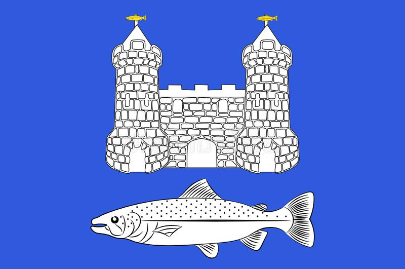 Bandeira de Chateaulin em Finistere em Brittany, França ilustração royalty free