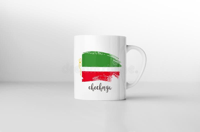 Bandeira de Chechnya na caneca de café branco ilustração do vetor