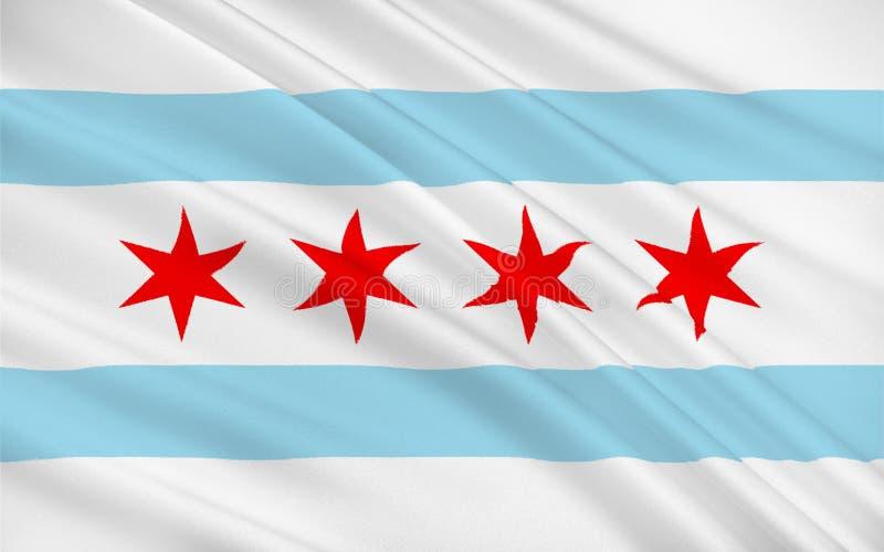 Bandeira de Chicago, EUA ilustração royalty free