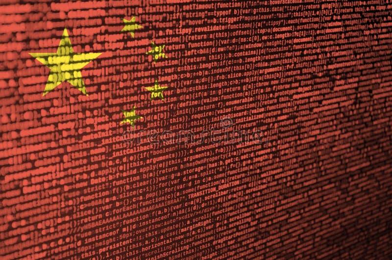 A bandeira de China é descrita na tela com o código do programa O conceito do desenvolvimento moderno da tecnologia e de local ilustração do vetor