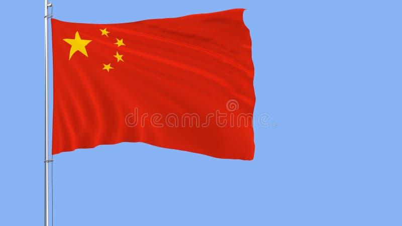 Bandeira de China em um mastro de bandeira que vibra no vento no fundo azul puro, rendição 3d ilustração do vetor