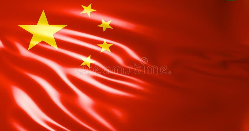 Bandeira de China Bandeira de ondulação da ilustração de China 3d Pequim qualidade 4K ilustração royalty free