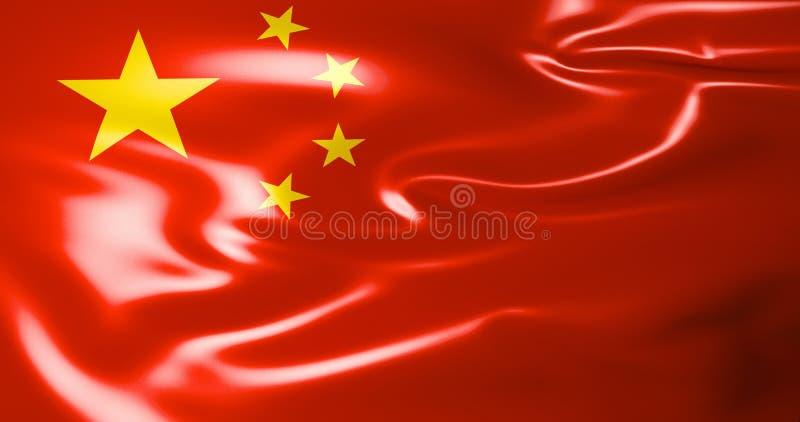 Bandeira de China Bandeira de ondulação da ilustração de China 3d Pequim qualidade 4K ilustração do vetor