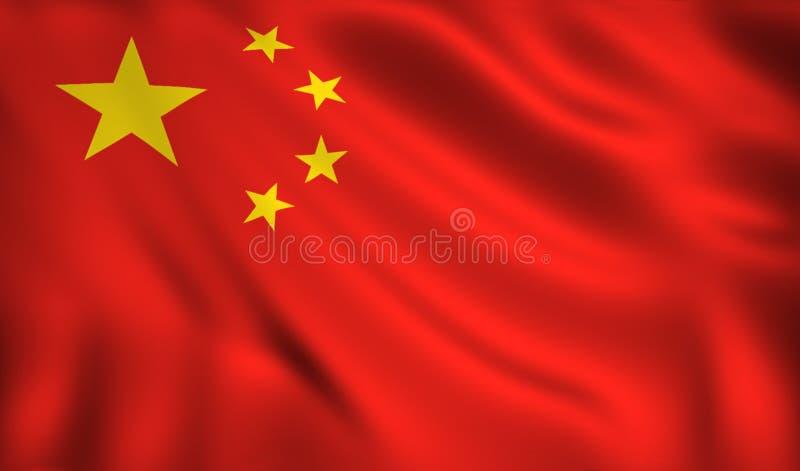 Bandeira de China que acena no vento ilustração do vetor