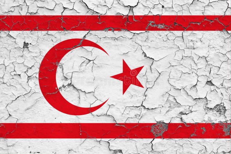 Bandeira de Chipre do norte pintada em parede suja rachada Teste padr?o nacional na superf?cie do estilo do vintage ilustração do vetor