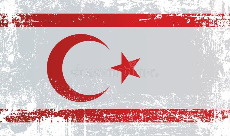 Bandeira de Chipre do norte, república turca de Chipre do norte Pontos sujos enrugados ilustração royalty free