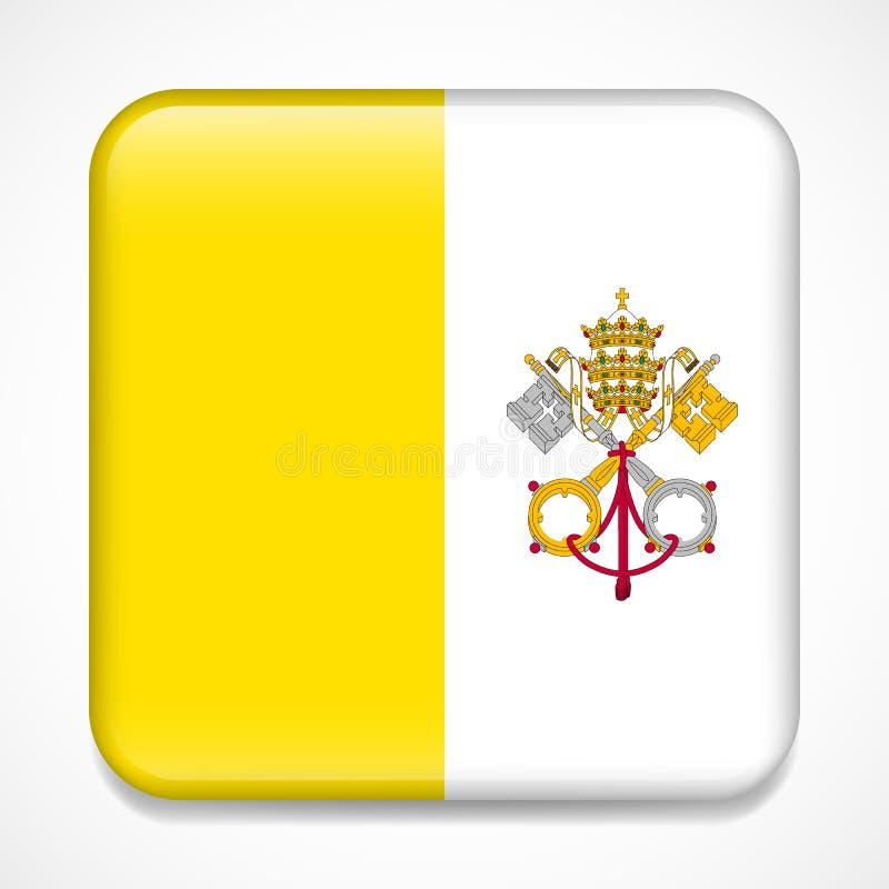Bandeira de Cidade Estado do Vaticano, Holy See Crachá lustroso do quadrado ilustração royalty free