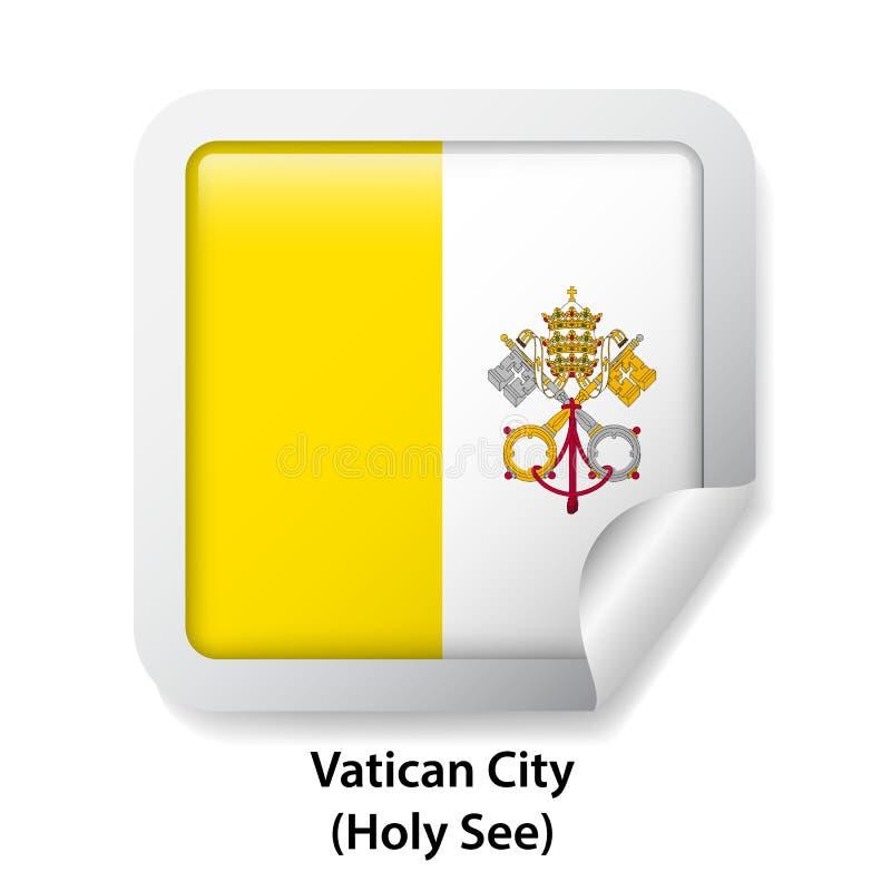 Bandeira de Cidade Estado do Vaticano, Holy See Etiqueta lustrosa redonda do crachá ilustração stock