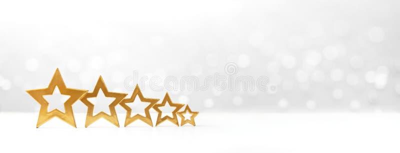 bandeira de cinco estrelas do branco da avaliação imagens de stock