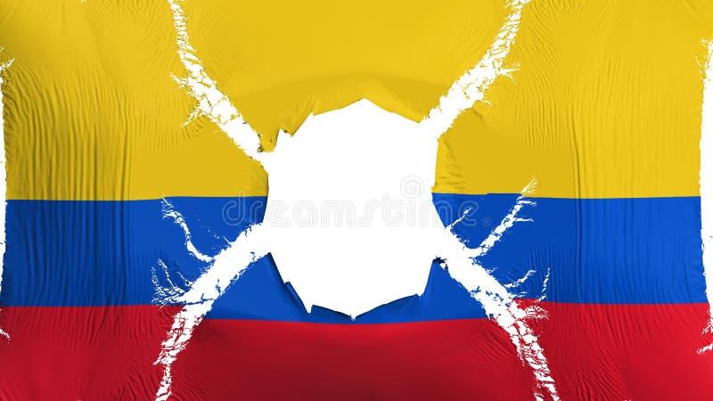 Bandeira de Colômbia com um furo ilustração stock