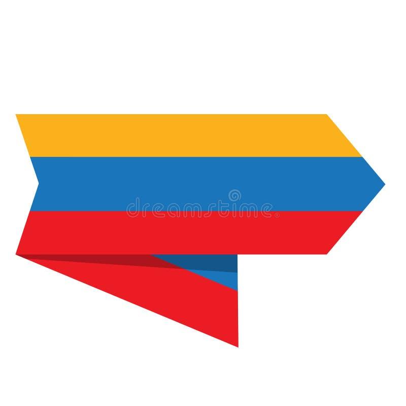 Bandeira de Colômbia em uma etiqueta ilustração royalty free