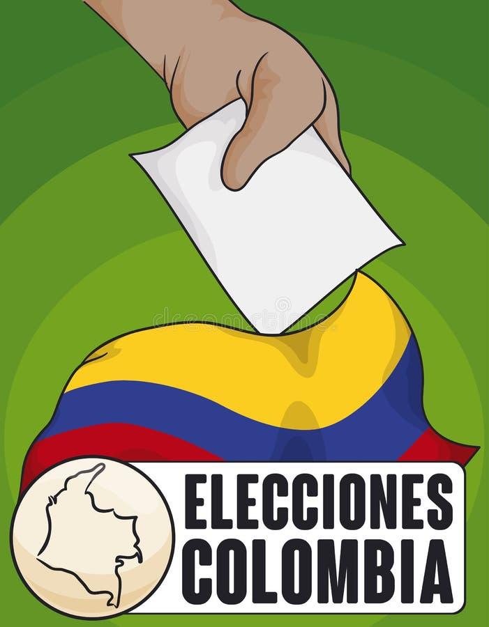 Bandeira de Colômbia, mapa e mão do eleitor para eleições evento de Colômbia, ilustração do vetor ilustração royalty free