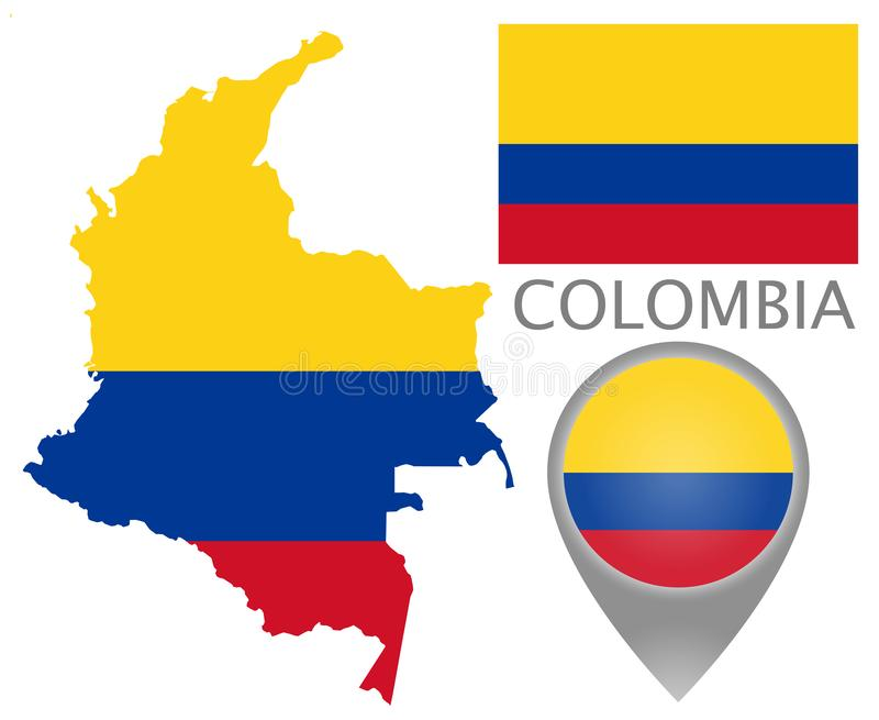 Bandeira de Colômbia, mapa e ponteiro do mapa ilustração royalty free