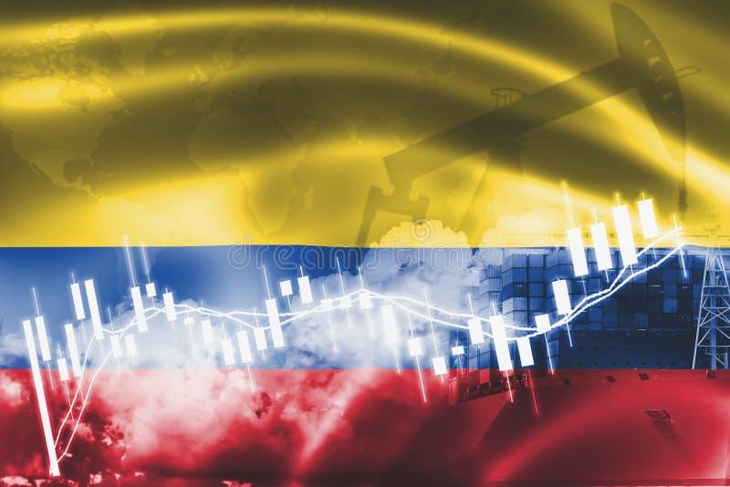 Bandeira de Colômbia, mercado de valores de ação, economia da troca e comércio, produção de petróleo, navio de recipiente no negó ilustração royalty free