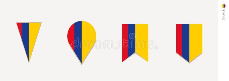 Bandeira de Colômbia no projeto vertical, ilustração do vetor ilustração royalty free