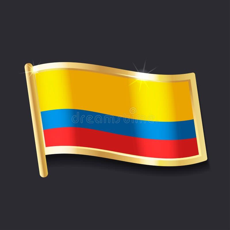 Bandeira de Colômbia sob a forma do crachá ilustração royalty free