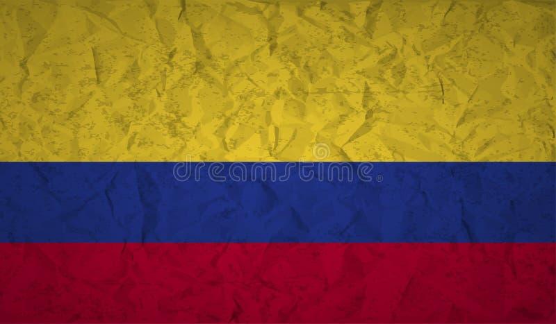 Bandeira de Colômbia com o efeito do papel amarrotado e do grunge ilustração royalty free