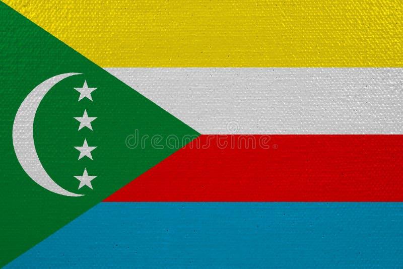 Bandeira de Comores na lona ilustração do vetor