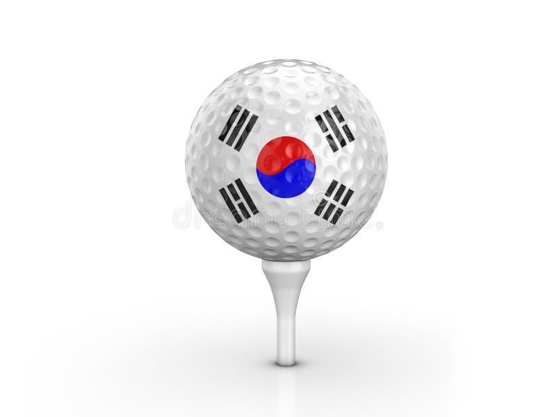 Bandeira de Coreia do Sul da bola de golfe ilustração royalty free