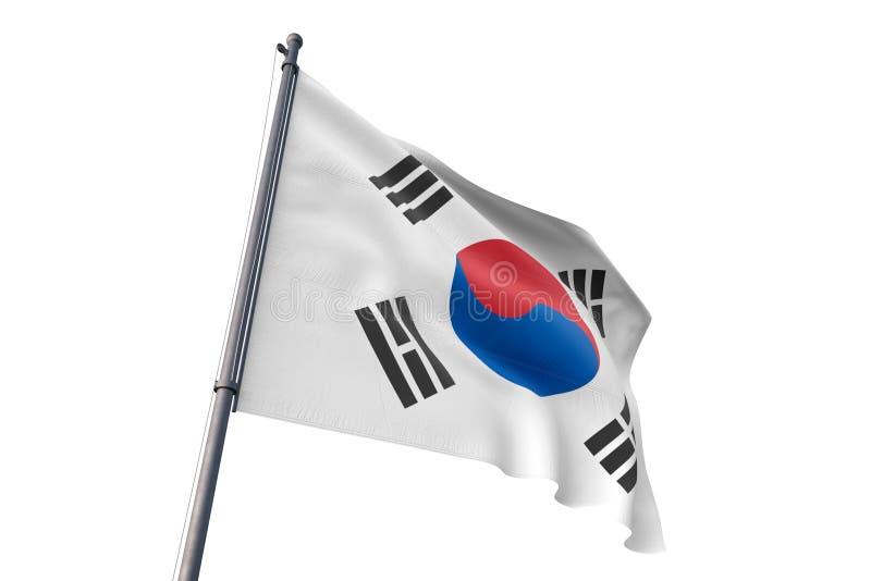 Bandeira de Coreia do Sul que acena a ilustração branca isolada do fundo 3D ilustração royalty free