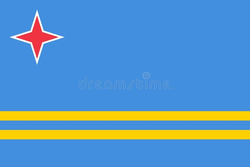 Bandeira de cores de Aruba e de proporções oficiais, imagem do vetor ilustração do vetor