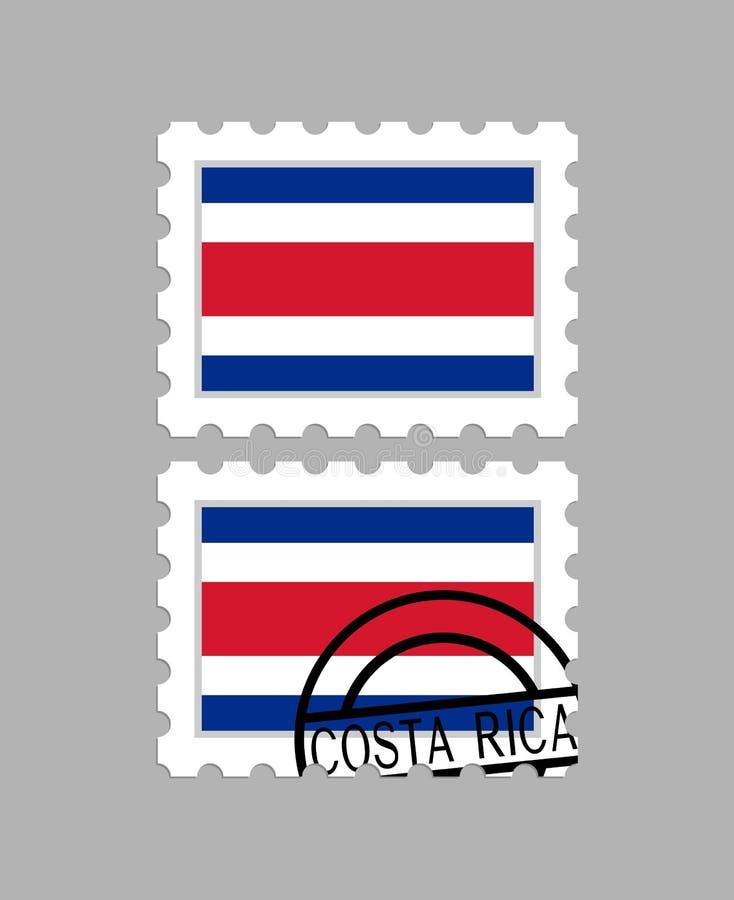 Bandeira de Costa-Rica em selos postais ilustração stock