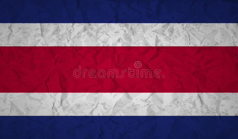Bandeira de Costa Rican com o efeito do papel amarrotado e do grunge ilustração do vetor
