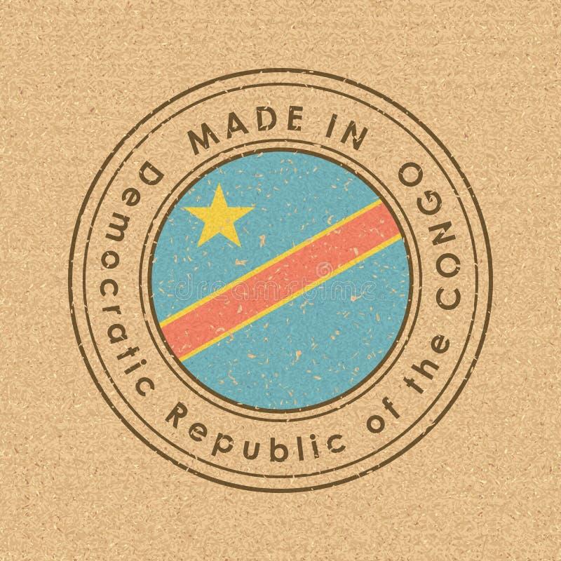 Bandeira de Democratic Republic Of The Congo Etiqueta redonda com nome de pa?s para bens nacionais originais Vetor ilustração stock