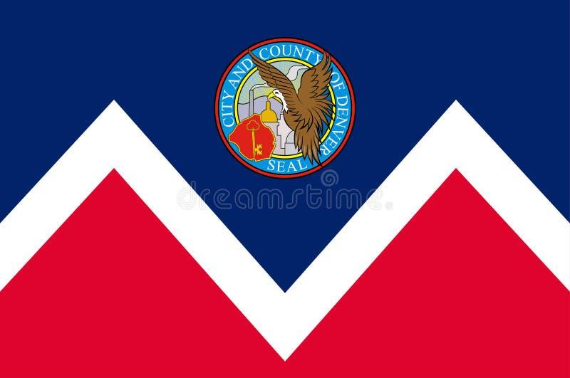 Bandeira de Denver em Colorado, Estados Unidos ilustração royalty free