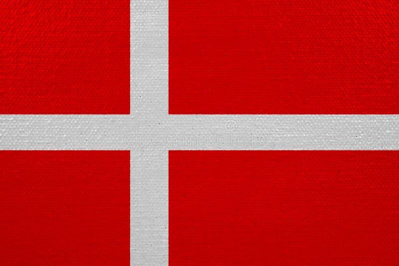 Bandeira de Dinamarca na lona ilustração do vetor