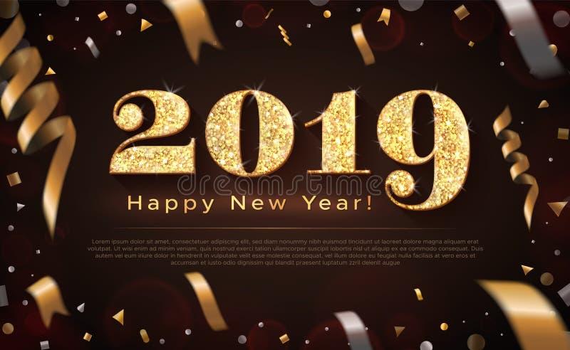bandeira de 2019 e do ano novo feliz ilustração stock