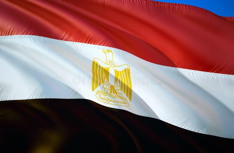Bandeira de Egipto projeto de ondulação da bandeira 3D O símbolo nacional de Egito, rendição 3D Cores nacionais do fundo de ondul ilustração royalty free