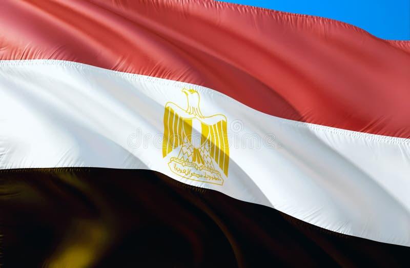 Bandeira de Egipto projeto de ondulação da bandeira 3D O símbolo nacional de Egito, rendição 3D Cores nacionais e bandeira nacion ilustração do vetor